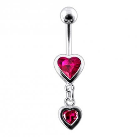 Moving Duel Jeweled Heart Belly Ring