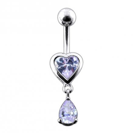 Moving Jeweled Hearts Belly Ring