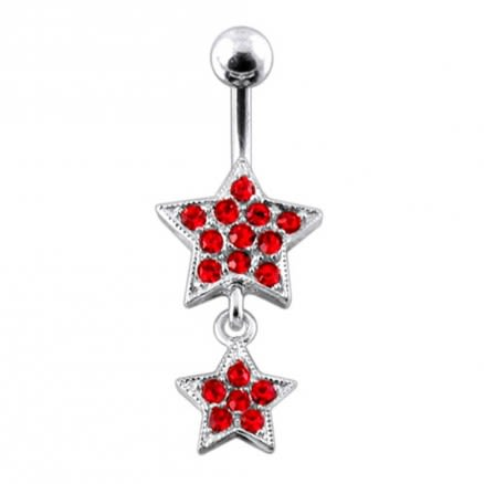 Jeweled Star Navel Belly Bar