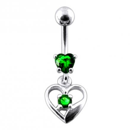 14G Silver Jeweled Heart With SS Banana Navel Bar