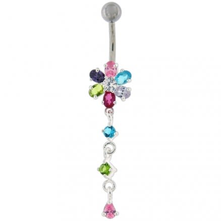 Moving Multi color Stone Flower Curved Bar Belly Ring