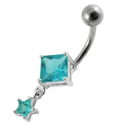 Moving Jeweled Charms Navel Body Jewelry