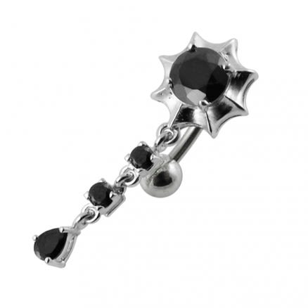 Moving Jeweled Charm Navel Bar