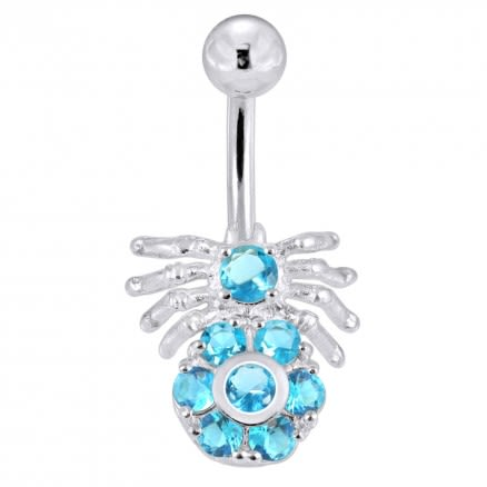 Jeweled Spider Belly Ring Banana Bar Body Jewelry