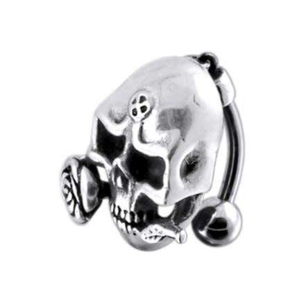 Moving Skull Faced Navel Ring