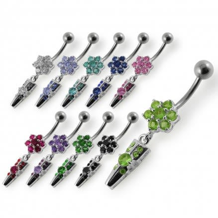 Moving Jeweled Fancy Flowers Dangling Silver with 316L Surgical Steel Banana