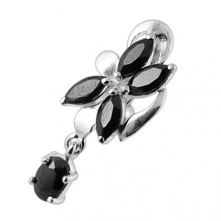Hanging Jeweled Flower Belly Button Ring
