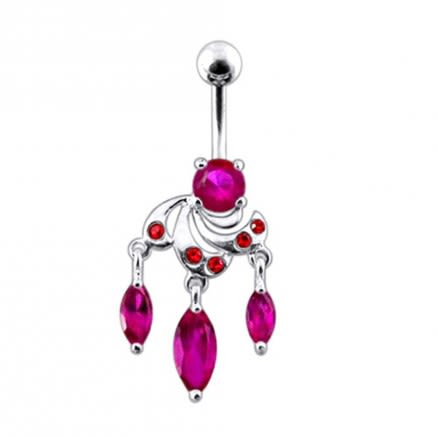 Moving Fancy Jeweled Curved Bar Belly Ring