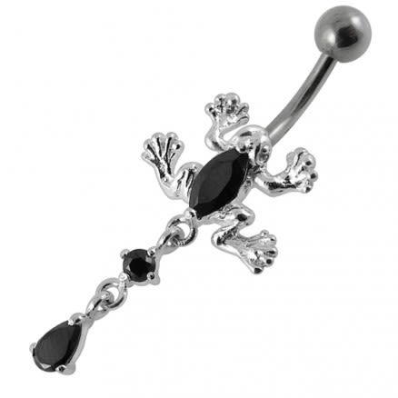 Moving Jeweled Frog Navel Body Jewelry