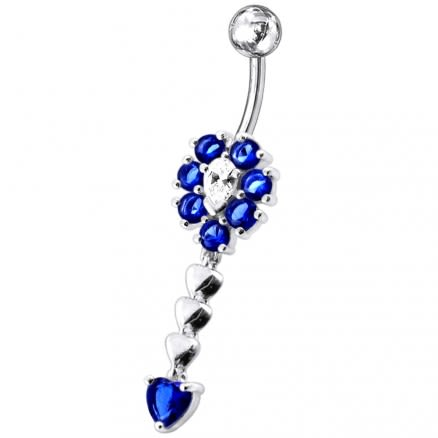 Fancy Flower Dangling Jeweled SS Belly Ring Body Jewelry