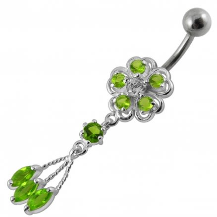 Moving Blue Jeweled Flower Designed  With SS Bar Banana Belly Ring