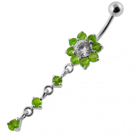 Moving Jeweled Flower Design Curved Bar Belly Ring