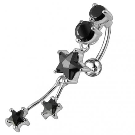 Moving Jeweled Star Shaped Navel Ring