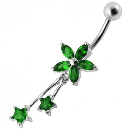 Moving Jeweled Flower Shaped Navel Ring
