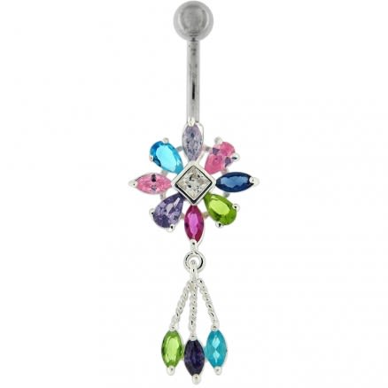 Moving Jeweled Fancy Flower Belly Ring