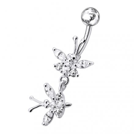 Butterfly shapped Dangling jeweled Belly Ring