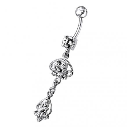 Jeweled Fancy Design Moving Navel Ring
