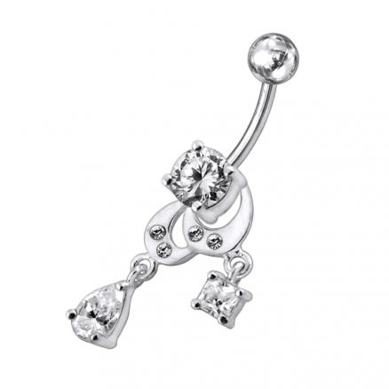 Moving Multi Jeweled Fancy Banana Bar Navel Ring
