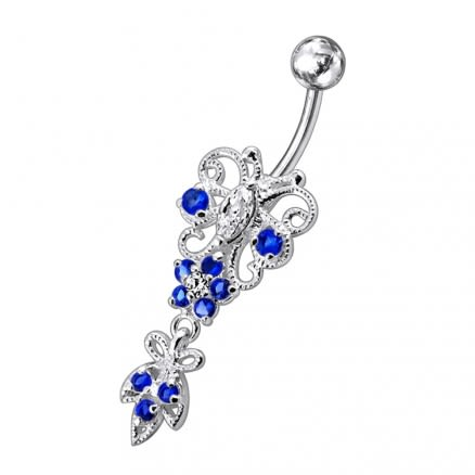 Silver Jeweled Navel SS Belly Ring