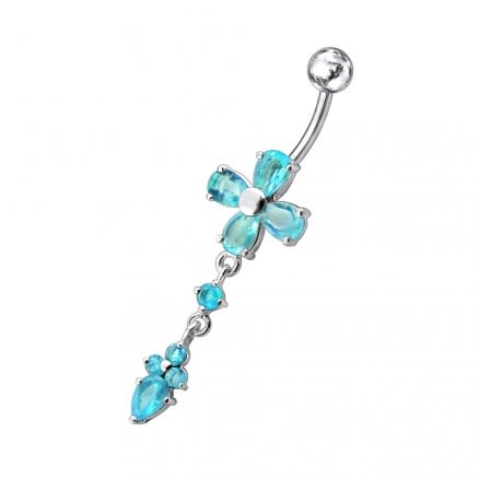 Moving Jeweled Cross Design Navel Body Jewelry
