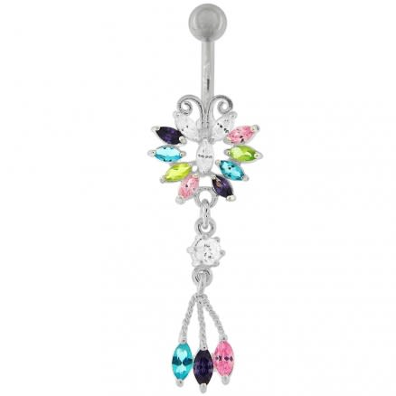Jeweled Moving Fancy Navel Ring