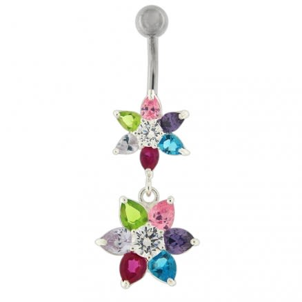 Moving Jeweled Flowers Design Belly Ring