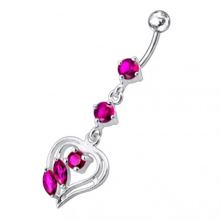 Fancy Jeweled Heart Navel Belly Bar