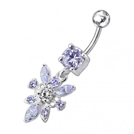 Dangling Jeweled Flower SS Navel Belly Ring