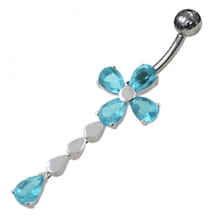 Jeweled Flower Design Moving Belly Ring