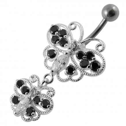 Multi Stones Moving Butterfly Banana Bar Navel Ring