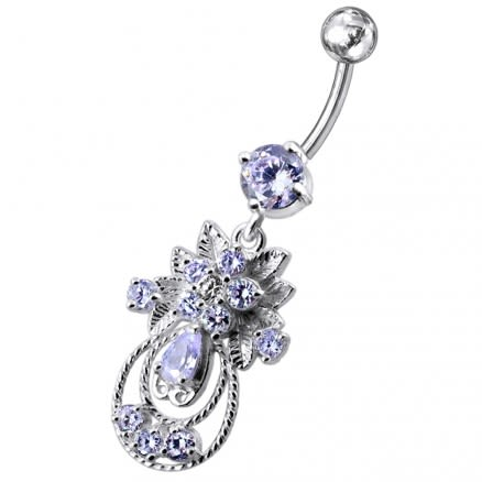 Moving Jeweled Fancy Designed Belly Ring