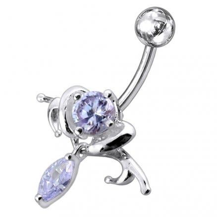 Surgical Grade Steel curved bar with 925 Sterling silver belly ring