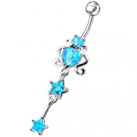 925 Sterling Silver Dangling Belly Ring