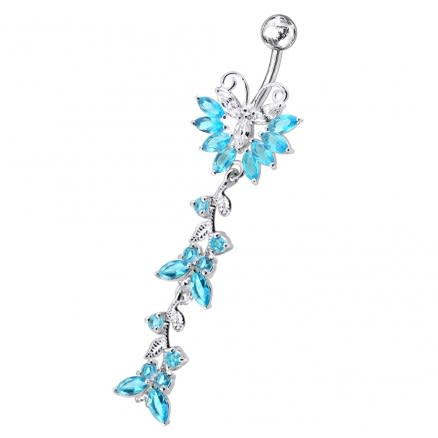 Silver Dangling Belly Ring With SS Bar