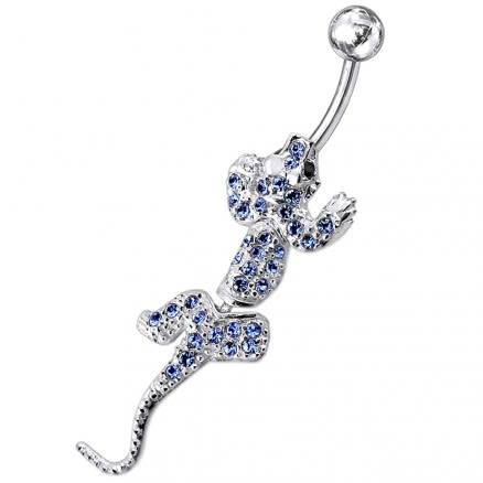 Silver Lizard Belly Button Ring