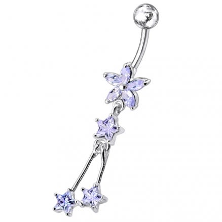 Flower with Triple Star Dangling Belly Moving Ring