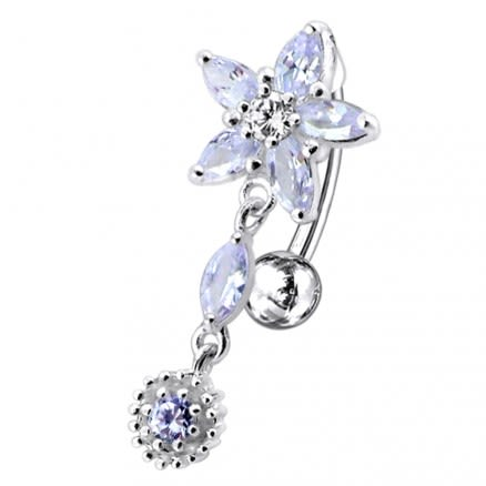 Flower with Sun Dangling Belly Moving Ring