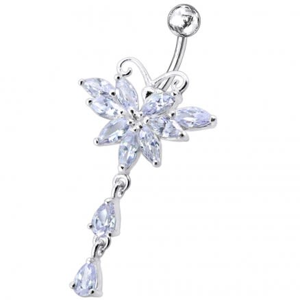 Butterfly Dangling Belly Moving Ring
