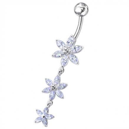 Triple Flower Dangling Belly Moving Ring