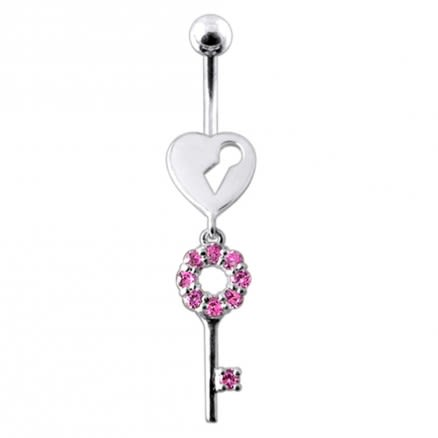 Heart Open Key Belly Moving Ring
