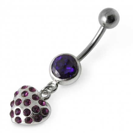Single Jewel with Heart Dangling Belly Moving Ring