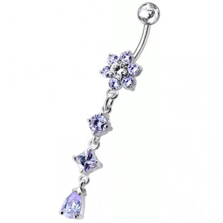 Flower Dangling Surgical Grade Steel Curved Bar Belly Ring