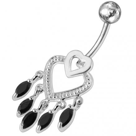 Chandelier Heart Dangling Belly Ring