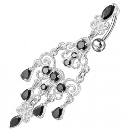 925 Sterling silver Chandelier Dangling Curved Belly Ring