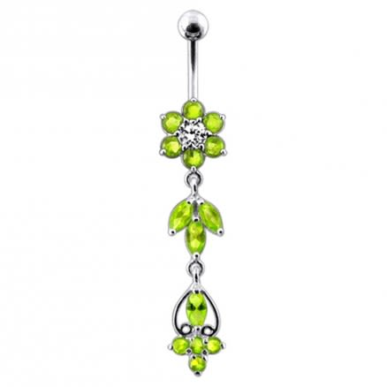 Flower Bunch Dangling Belly Ring