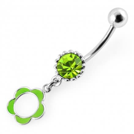 Resin Flower Dangling Belly Ring