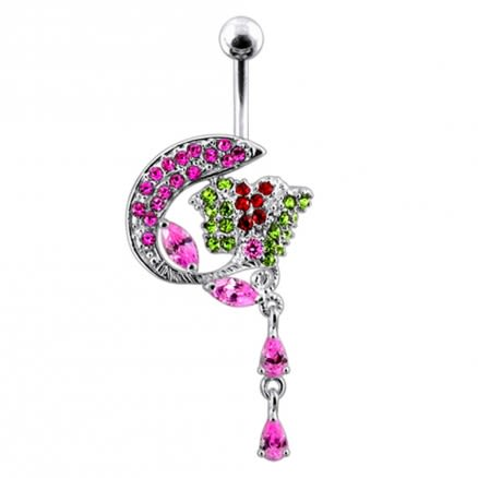 Shark and Butterfly Dangling Belly Ring