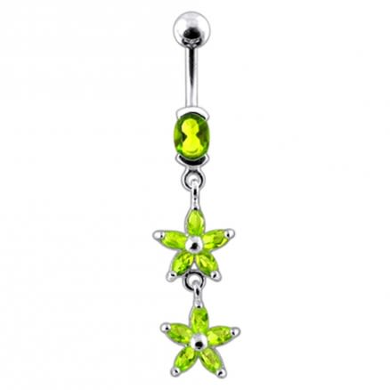 Double Flower  Dangling Belly Ring