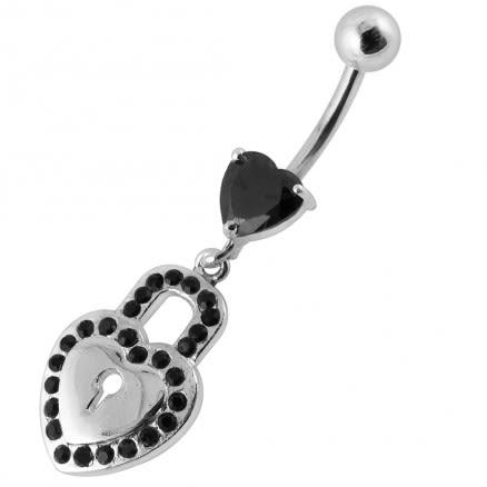 Heart Padlock Dangling Belly Ring