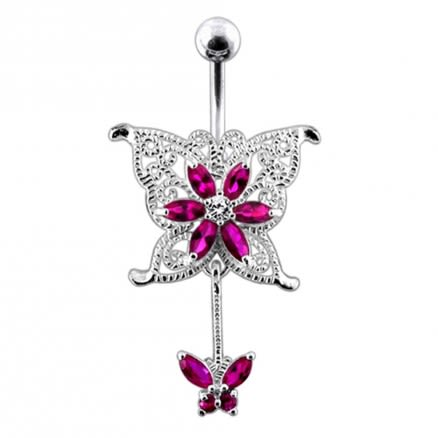 Mother and Child Buttterfly Belly Ring